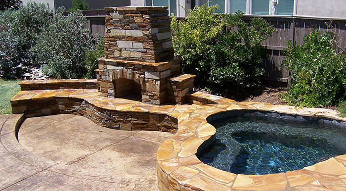Outdoor Fireplace Built In Spa