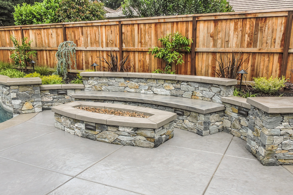 High-Low Concrete Outdoor Fireplace