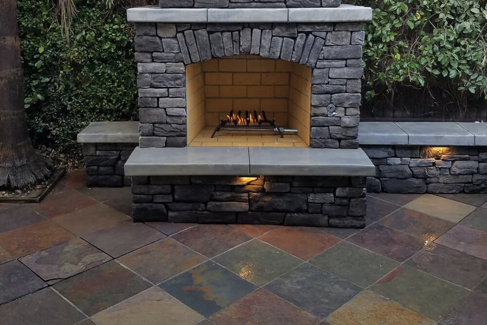 Traditional Outdoor Wood Burning Fireplace Designed and Built in Sacramento