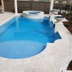 Travertine Stone Pool Deck, BBQ and Natural Gas Fireplace El Dorado Hills