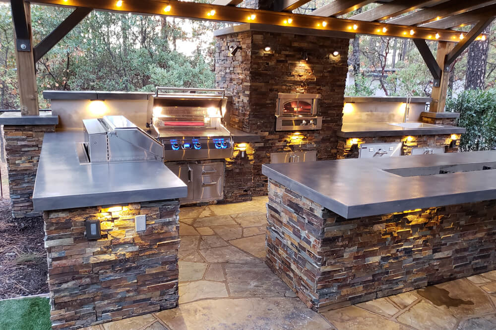 Natural Ledge Stone Outdoor Kitchen Build Designed in Meadow Vista